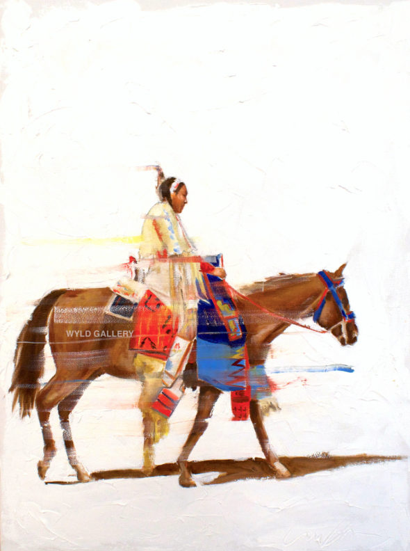 Native American Painting of a Crow Indian